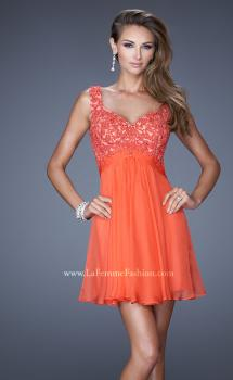 Picture of: Short Chiffon Prom Dress with Jeweled Lace Bodice in Orange, Style: 20631, Main Picture