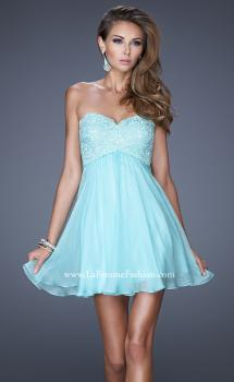 Picture of: Open Back Strapless Long Prom Gown with Lace Bodice in Blue, Style: 20633, Main Picture