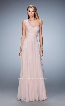 Picture of: Long One Shoulder Prom Gown with Criss Cross Bodice in Pink, Style: 20639, Main Picture