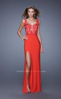 Picture of: Sleeveless Jersey Gown with Lace Bodice and Slit in Orange, Style: 20640, Main Picture