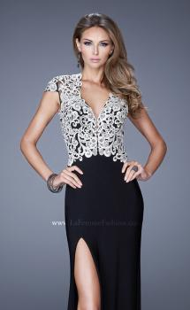 Picture of: Sheer Cap Sleeve Long Jersey Prom Dress with Details, Style: 20648, Main Picture