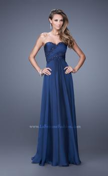 Picture of: Chiffon Gown with Criss Cross Ruched Bodice and Beads in Blue, Style: 20658, Main Picture