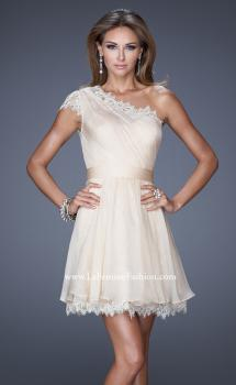 Picture of: One Strap Chiffon Cocktail Dress with Belt and Lace Trim, Style: 20663, Main Picture