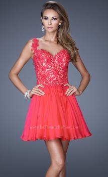 Picture of: Lace Bodice Sweetheart Neck Chiffon Prom Gown in Orange, Style: 20672, Main Picture