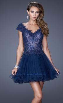 Picture of: V Neck Prom Dress with Tulle Skirt and Scoop Back in Blue, Style: 20676, Main Picture