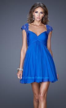 Picture of: Ruched Bodice and Cap Sleeve Sweetheart Prom Dress in Blue, Style: 20682, Main Picture