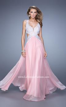 Picture of: Beaded Lace Chiffon Prom Gown with Criss Cross Straps, Style: 20692, Main Picture
