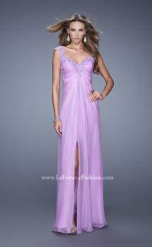 Picture of: Embellished Chiffon Gown with Beaded Lace Straps in Purple, Style: 20694, Main Picture