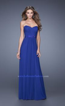 Picture of: Strapless Net Jersey Prom Dress with Beaded Belt in Blue, Style: 20698, Main Picture