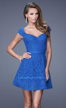 Picture of: Sheer Cap Sleeve Lace Cocktail Dress with Thin Belt in Blue, Style: 20699, Main Picture