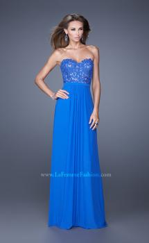 Picture of: Long Net Jersey Prom Dress with Lace Covered Bodice, Style: 20700, Main Picture