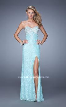 Picture of: Pearl Encrusted Beaded Lace Long Prom Gown in Aqua, Style: 20705, Main Picture