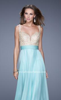Picture of: Long Chiffon Prom Gown with Sweetheart Neckline in Aqua, Style: 20709, Main Picture