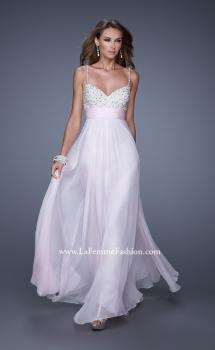 Picture of: Spaghetti Strap Rhinestone and Pearl Prom Dress in Pink, Style: 20717, Main Picture