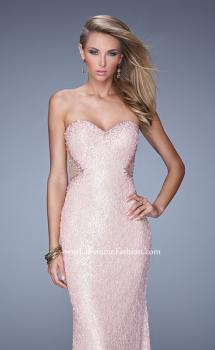Picture of: Beaded Lace Gown with Illusion Net Detailing in Pink, Style: 20720, Main Picture