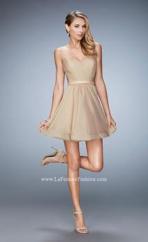 Picture of: Strapless Chiffon Short Dress with Gathered Waist in Nude, Style: 20721, Main Picture