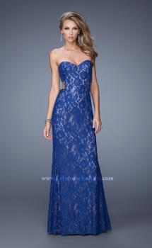 Picture of: Long Lace Strapless Prom Dress with Embellishments in Blue, Style: 20750, Main Picture