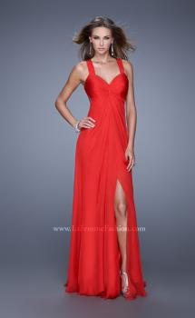 Picture of: Chiffon Prom Gown with Gathered Knot Detail in Red, Style: 20774, Main Picture