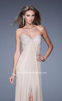 Picture of: Strapless Chiffon Dress with Embellished Back Straps in Nude, Style: 20784, Main Picture