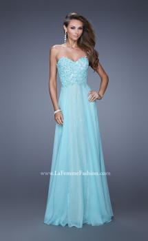 Picture of: Strapless Chiffon Prom Dress with Beaded Lace Bodice, Style: 20798, Main Picture