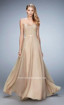 Picture of: Long Strapless Gown with Pleated Bodice and Belt in Gold, Style: 20808, Main Picture