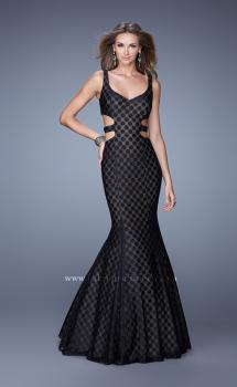 Picture of: Long Mermaid Gown with Polka Dot Lace Overlay in Black, Style: 20813, Main Picture