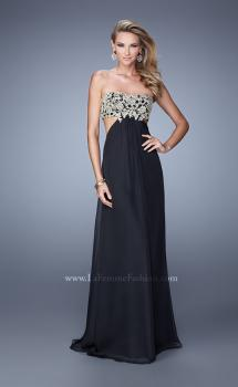 Picture of: Strapless Chiffon Gown with Metallic Lace Top and Slits, Style: 20819, Main Picture