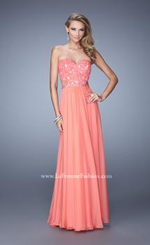 Picture of: Long Sweetheart Neck Gown with Lace Appliques and Belt, Style: 20822, Main Picture