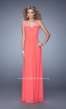 Picture of: Cap Sleeve Net Jersey Dress with Keyhole Back in Coral, Style: 20844, Main Picture