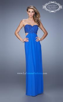 Picture of: Stretch Net Prom Gown with Beaded Lace Appliques in Blue, Style: 20851, Main Picture