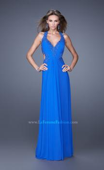 Picture of: Halter Net Jersey Prom Dress with Beaded Lace Trim, Style: 20867, Main Picture
