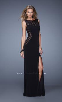 Picture of: Jersey Prom Dress with Sheer Polka Dot Lace Sides, Style: 20879, Main Picture
