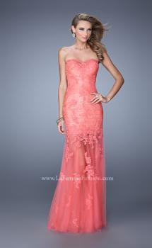 Picture of: Long Form Fitting Prom Dress with Sheer Tulle Skirt in Coral, Style: 20881, Main Picture