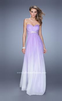 Picture of: Long Ombre Chiffon Dress with Ruching and Pearls, Style: 20885, Main Picture