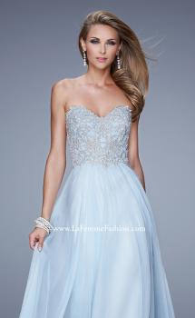 Picture of: Embellished Strapless Dress with Gathered Chiffon Skirt in Blue, Style: 20888, Main Picture
