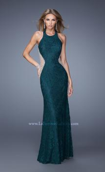 Picture of: Lace Halter Prom Gown with Crystal Beading, Style: 20896, Main Picture