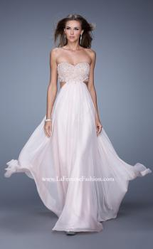 Picture of: Long Strapless Chiffon Gown with Beaded Lace Applique in Pink, Style: 20898, Main Picture