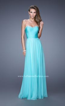 Picture of: Ruched and Beaded Long Chiffon Prom Dress in Aqua, Style: 20901, Main Picture