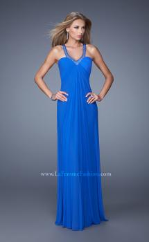 Picture of: Net Jersey Prom Dress with Sheer Beaded Straps in Blue, Style: 20903, Main Picture