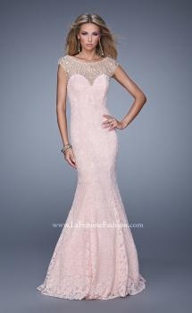 Picture of: Long Lace Cap Sleeve Mermaid Gown with Beading, Style: 20905, Main Picture