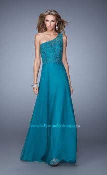Picture of: Long One Shoulder Chiffon Dress with Sheer Strap and Back in Teal, Style: 20907, Main Picture