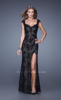 Picture of: Lace Prom Dress with Sheer Lace Cap Sleeves in Black, Style: 20914, Main Picture