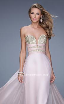 "Picture of: Long Chiffon Gown with Embroidered Bodice with ""X"" Back, Style: 20921, Main Picture"