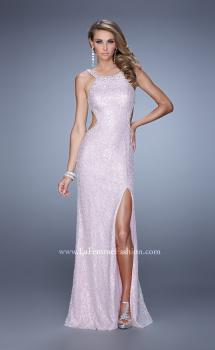 Picture of: Long Beaded Lace Gown with High Neckline and Cut Outs in Pink, Style: 20933, Main Picture