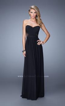 Picture of: Strapless Net Jersey Gown with stones and Sheer Back in Black, Style: 20934, Main Picture