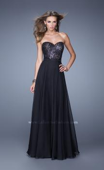 Picture of: Simple Strapless Prom Dress with Beaded Lace Detail, Style: 20937, Main Picture