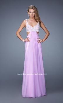 Picture of: Full Length Chiffon Prom Dress with Hand Beaded Bra Top, Style: 20942, Main Picture