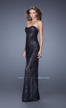 Picture of: Full Length Beaded Lace Dress with Pearl Detailing, Style: 20943, Main Picture