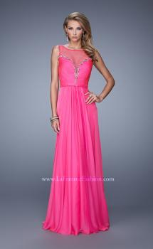 Picture of: Natural Waist Long Chiffon Gown with Beads and Stones in Hot Pink, Style: 20956, Main Picture