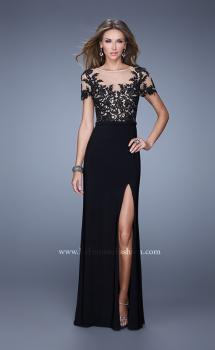 Picture of: Long Jersey Prom Dress with Sheer Neckline and Sleeves in Black, Style: 20957, Main Picture